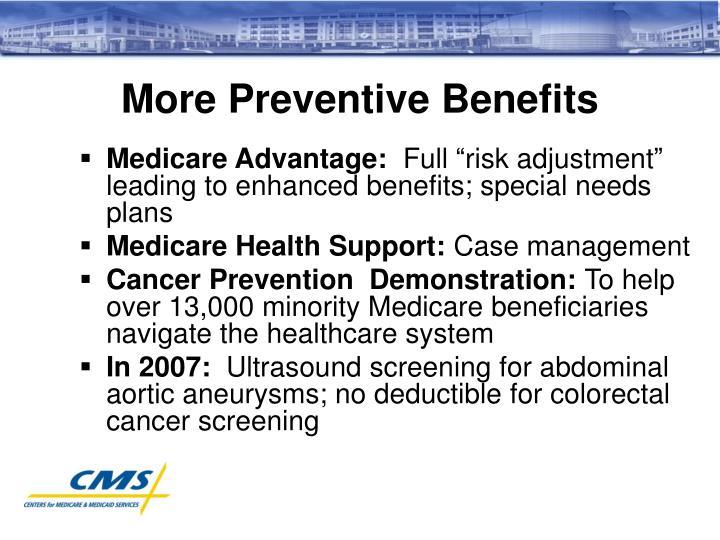 More Preventive Benefits