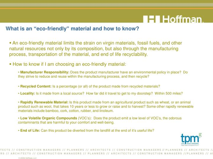 What is an eco friendly material and how to know