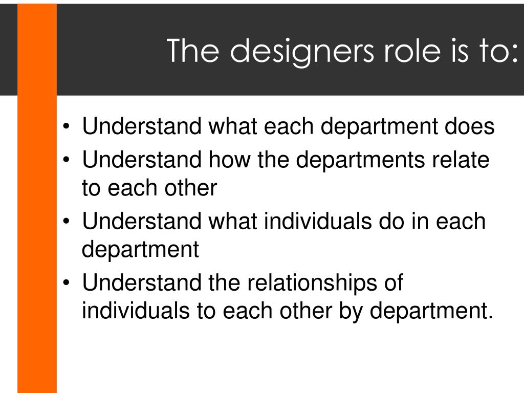 The designers role is to: