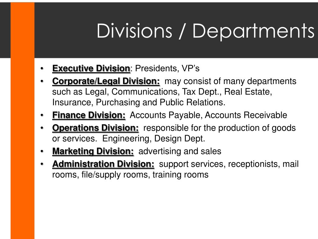 Divisions / Departments