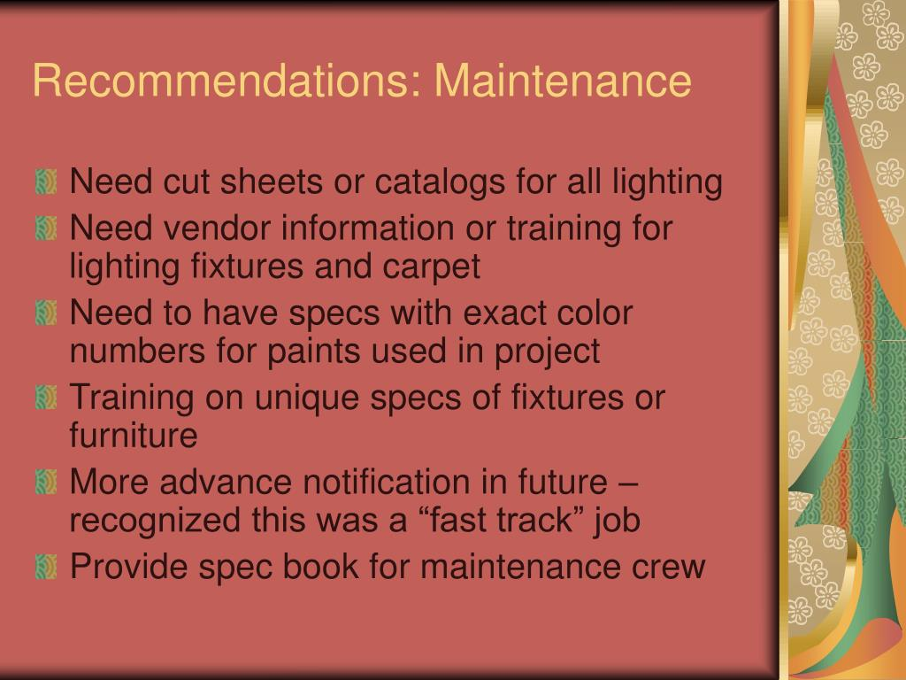 Recommendations: Maintenance