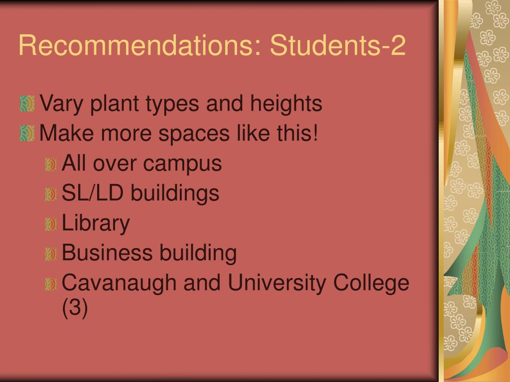 Recommendations: Students-2