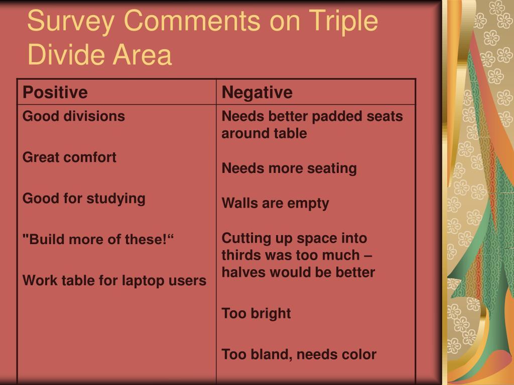 Survey Comments on Triple Divide Area