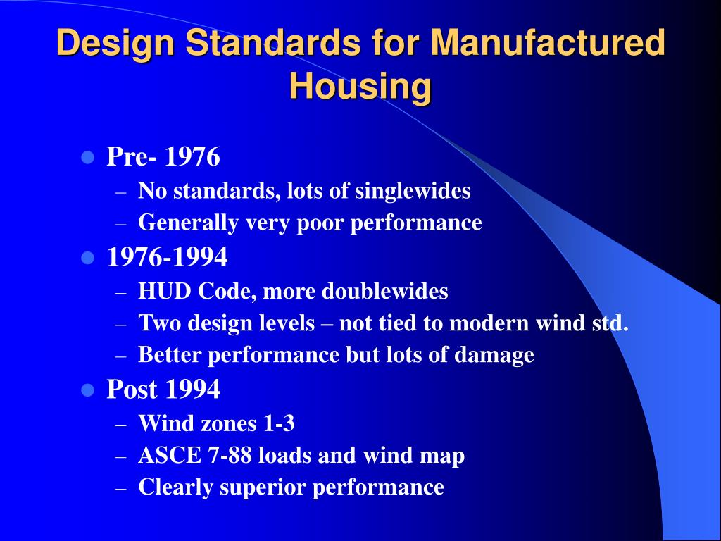 Design Standards for Manufactured Housing