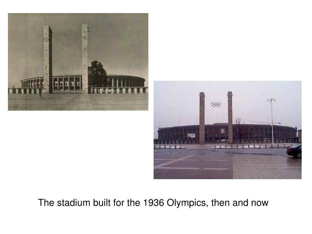 The stadium built for the 1936 Olympics, then and now