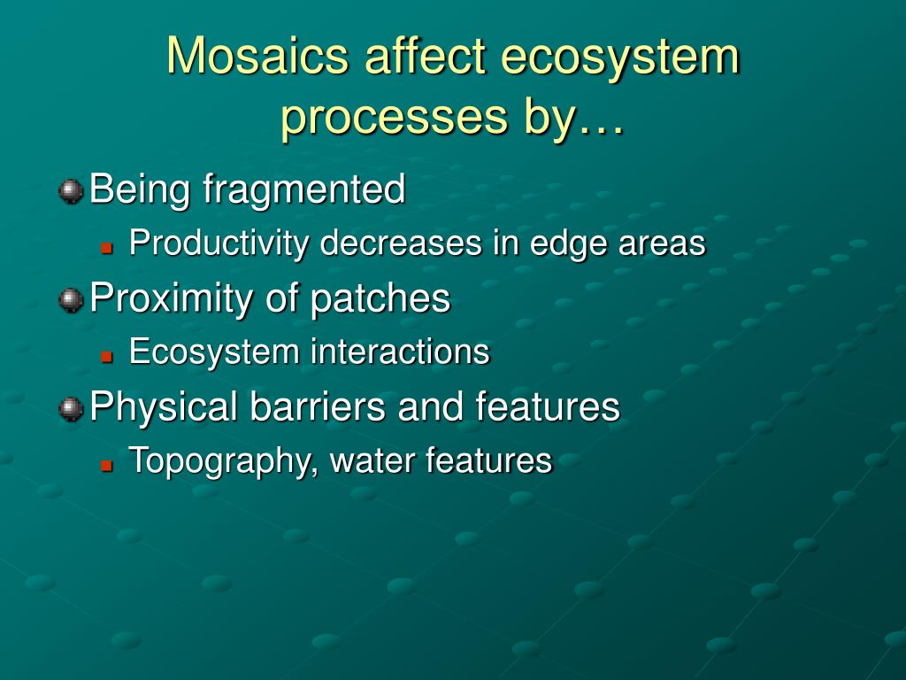 Mosaics affect ecosystem processes by…