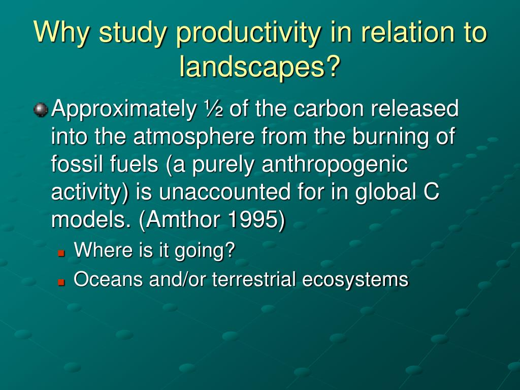 Why study productivity in relation to landscapes?