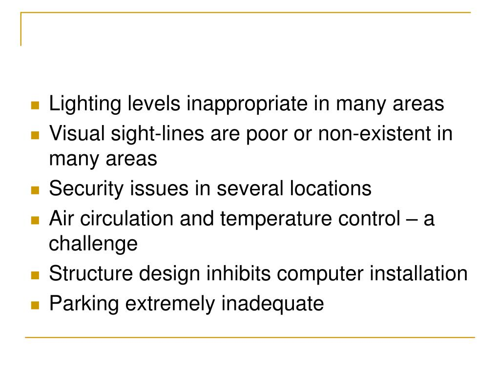 Lighting levels inappropriate in many areas