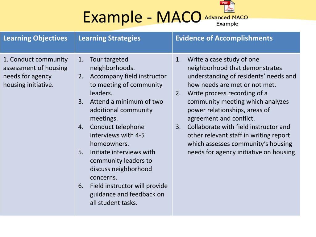 Example - MACO