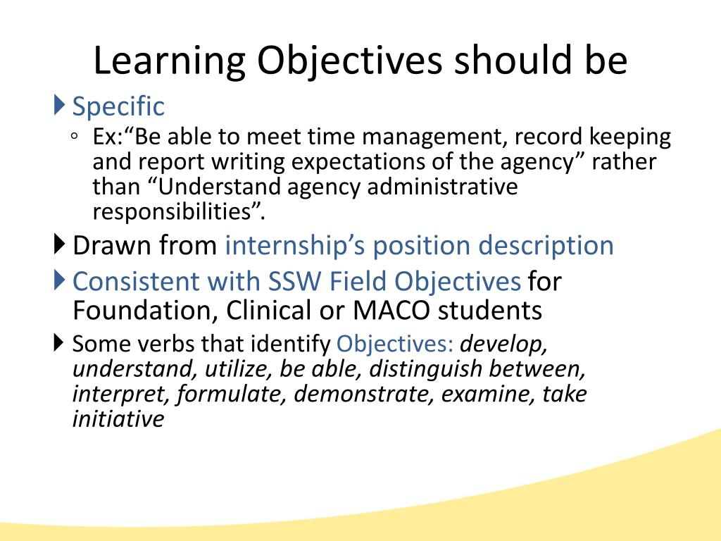 Learning Objectives should be