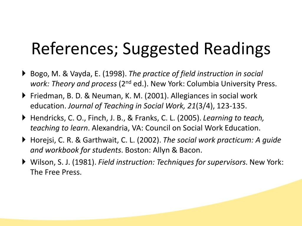 References; Suggested Readings