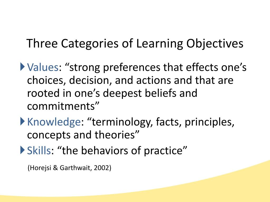 Three Categories of Learning Objectives