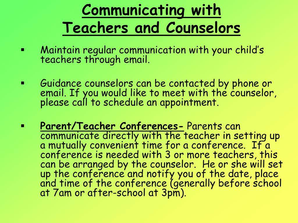 Communicating with Teachers and Counselors