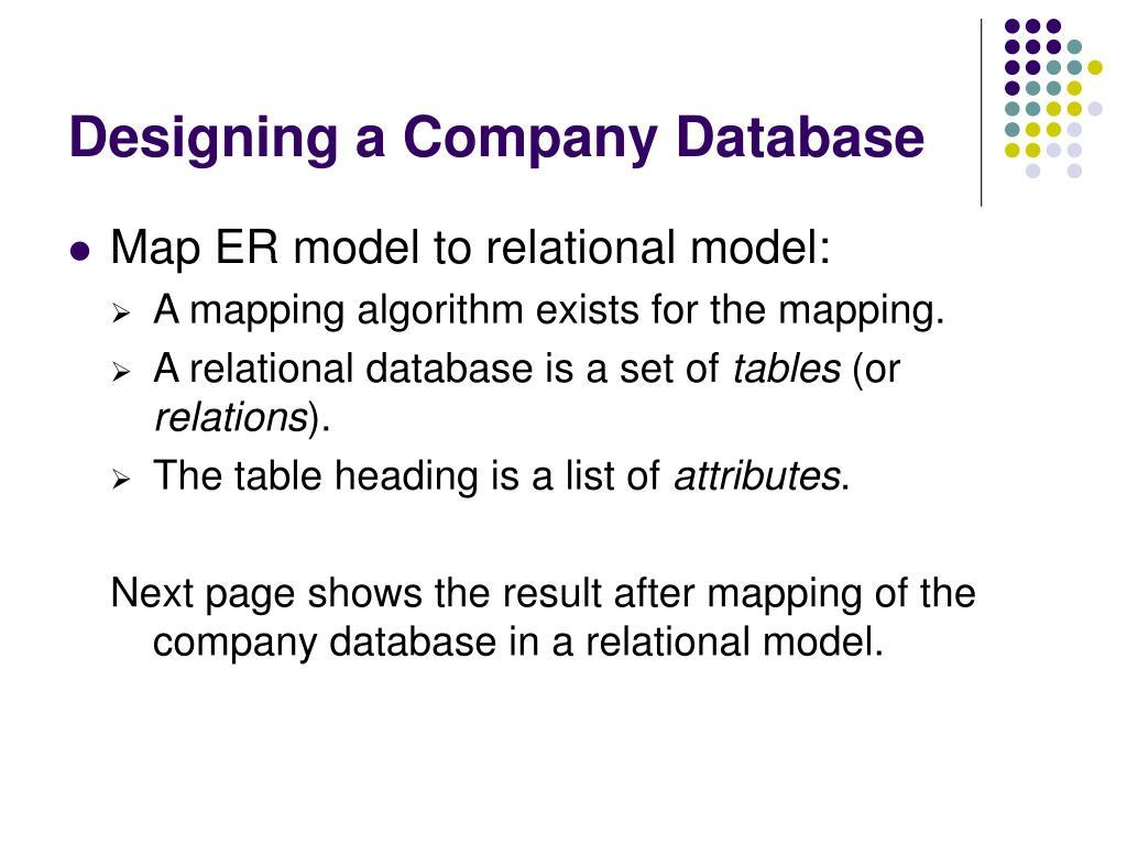 Designing a Company Database