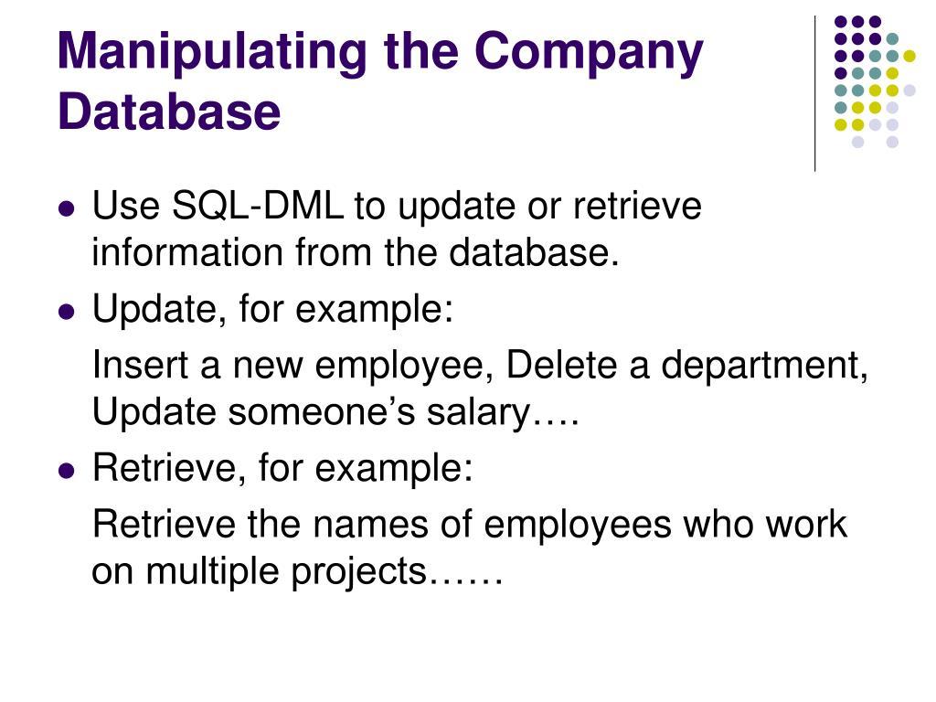 Manipulating the Company Database