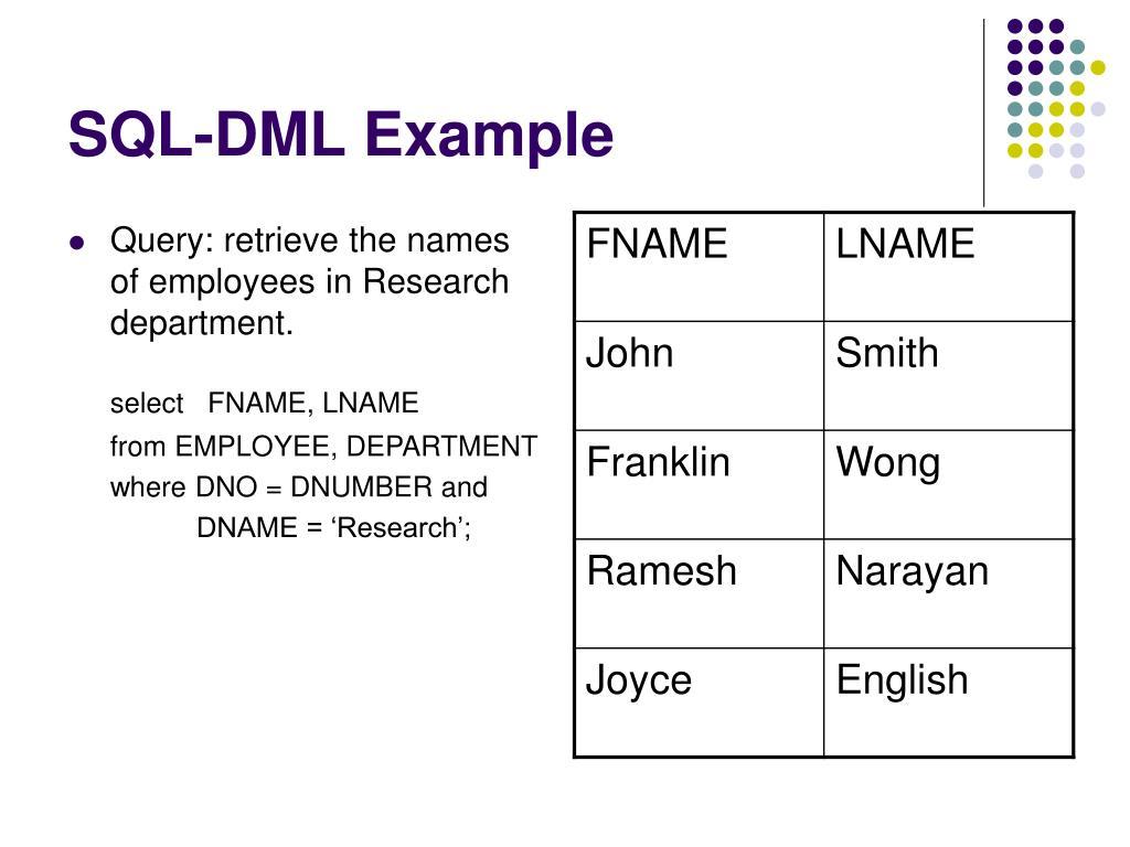 SQL-DML Example