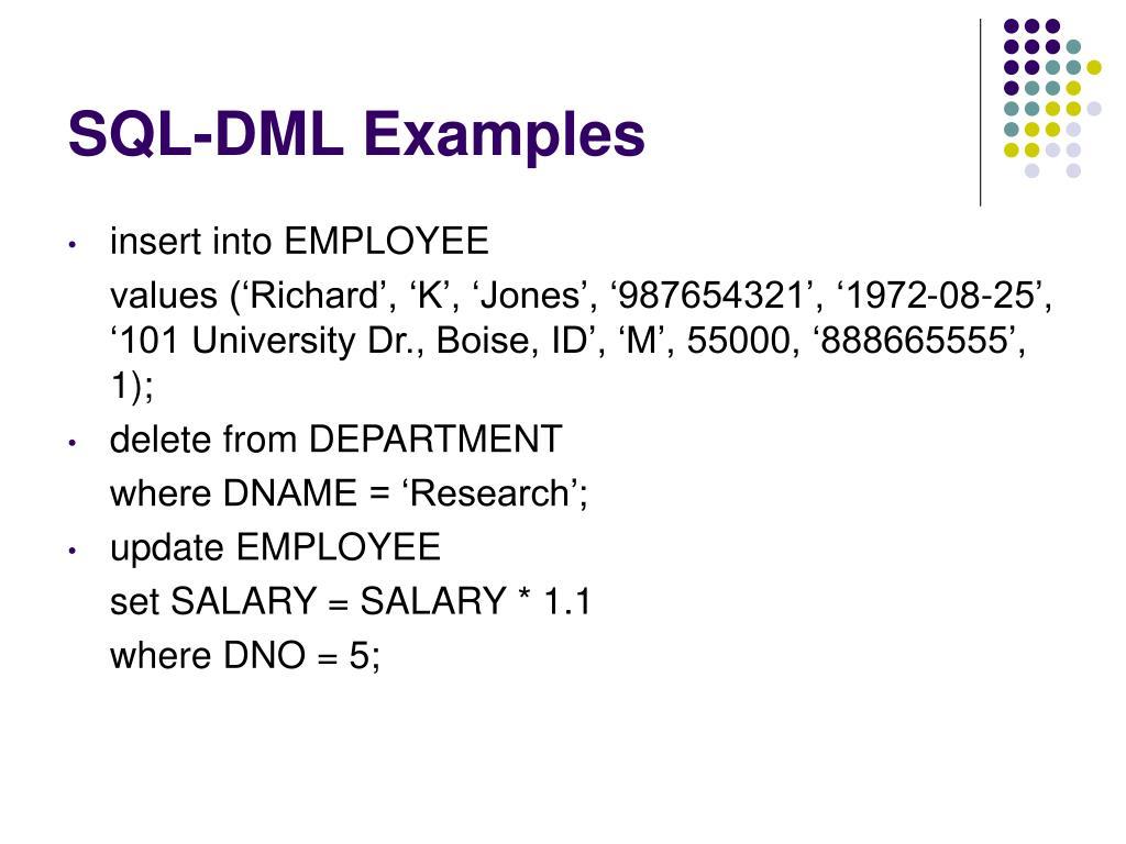 SQL-DML Examples