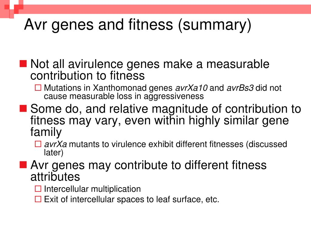 Avr genes and fitness (summary)