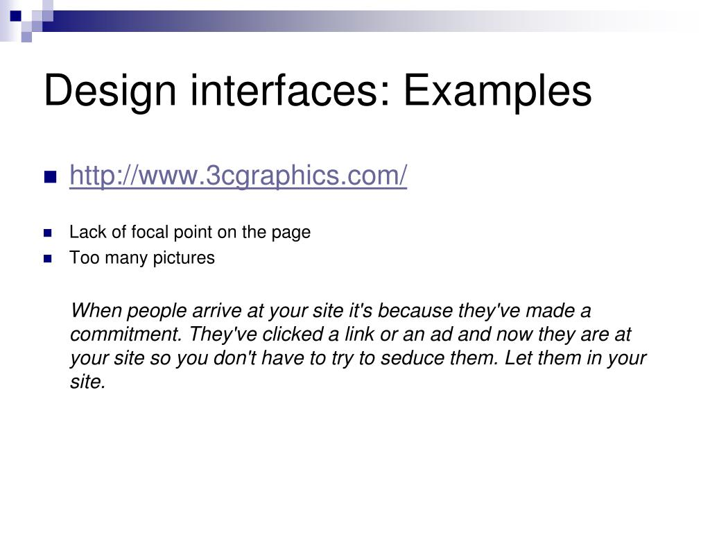 Design interfaces: Examples