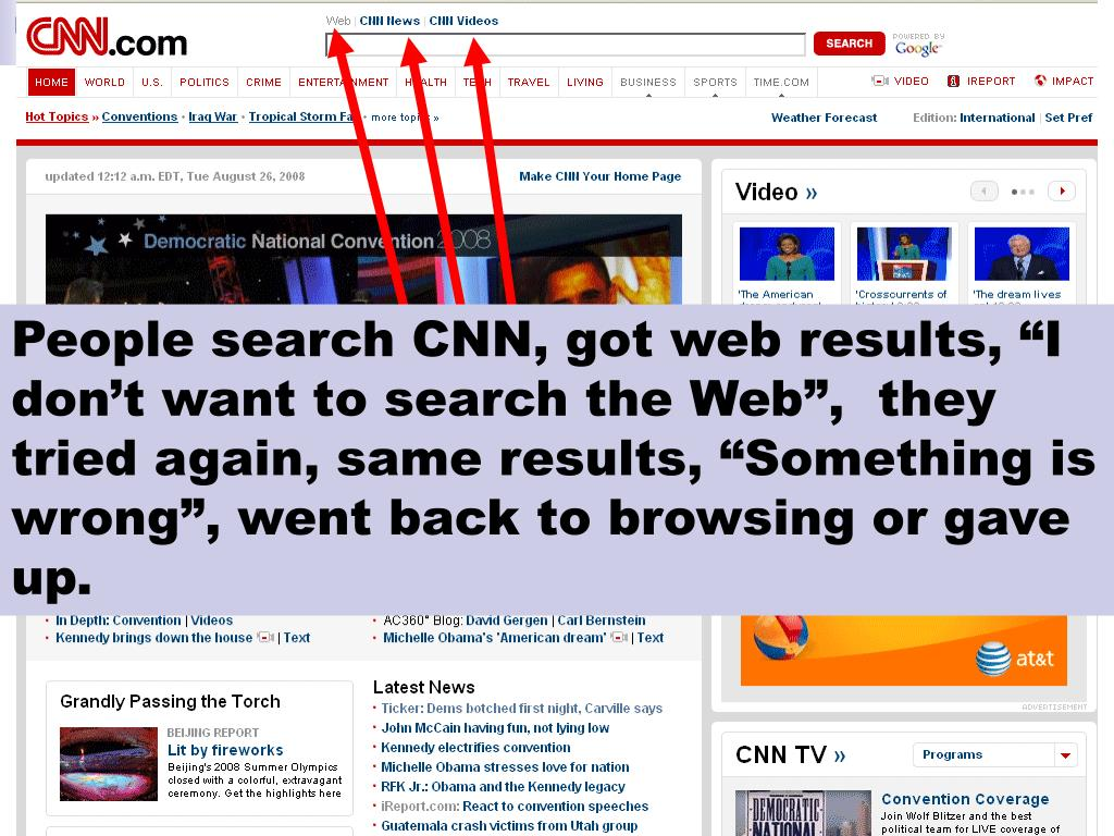 "People search CNN, got web results, ""I don't want to search the Web"",  they tried again, same results, ""Something is wrong"", went back to browsing or gave up."