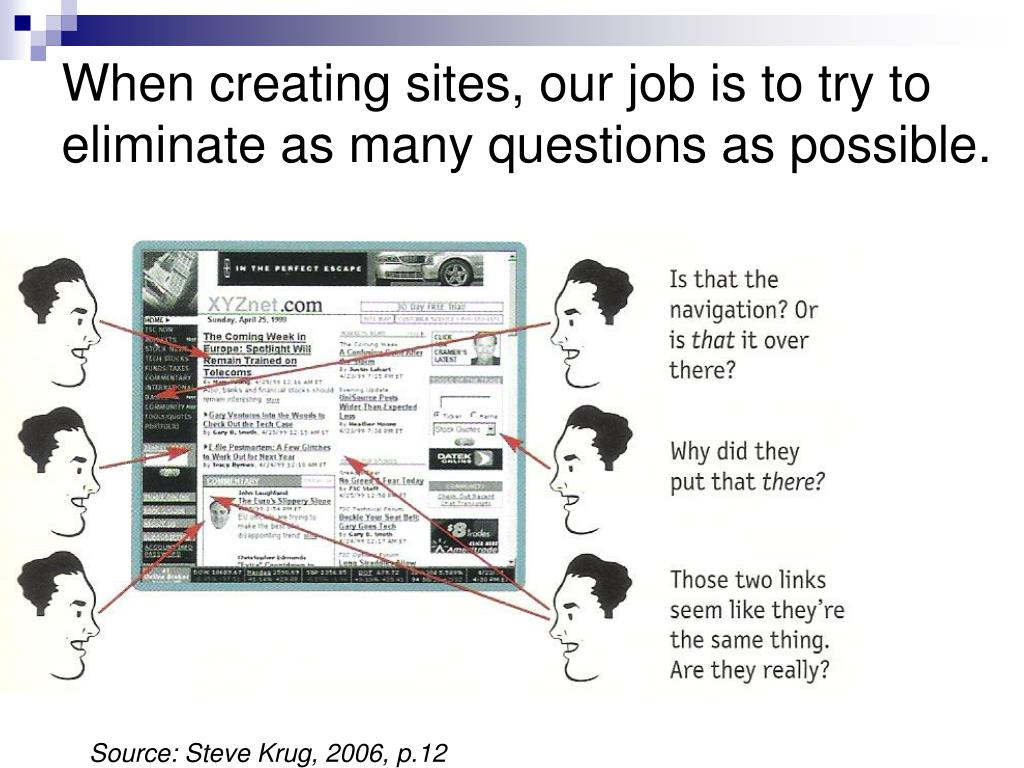 When creating sites, our job is to try to eliminate as many questions as possible.