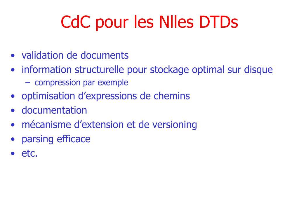 CdC pour les Nlles DTDs