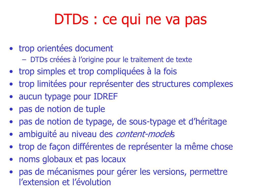 DTDs : ce qui ne va pas