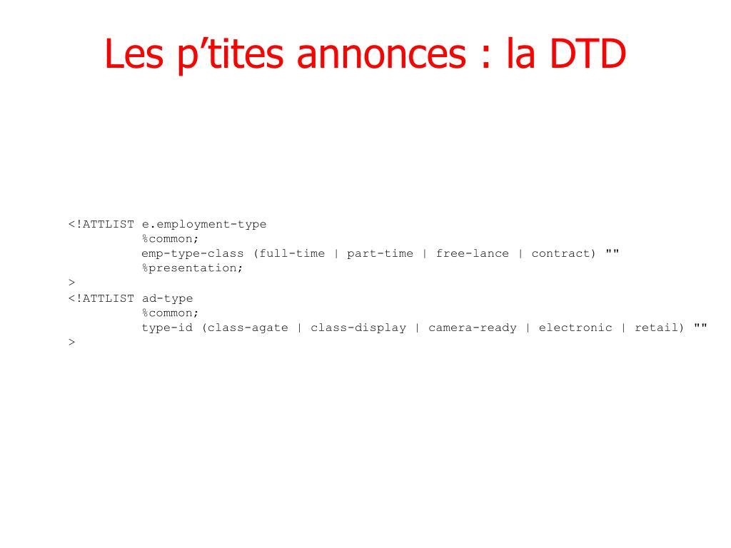 Les p'tites annonces : la DTD