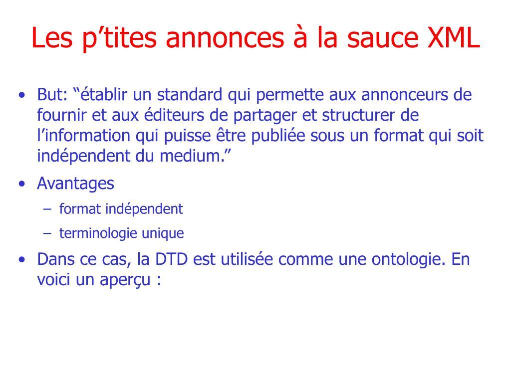 Les p'tites annonces à la sauce XML