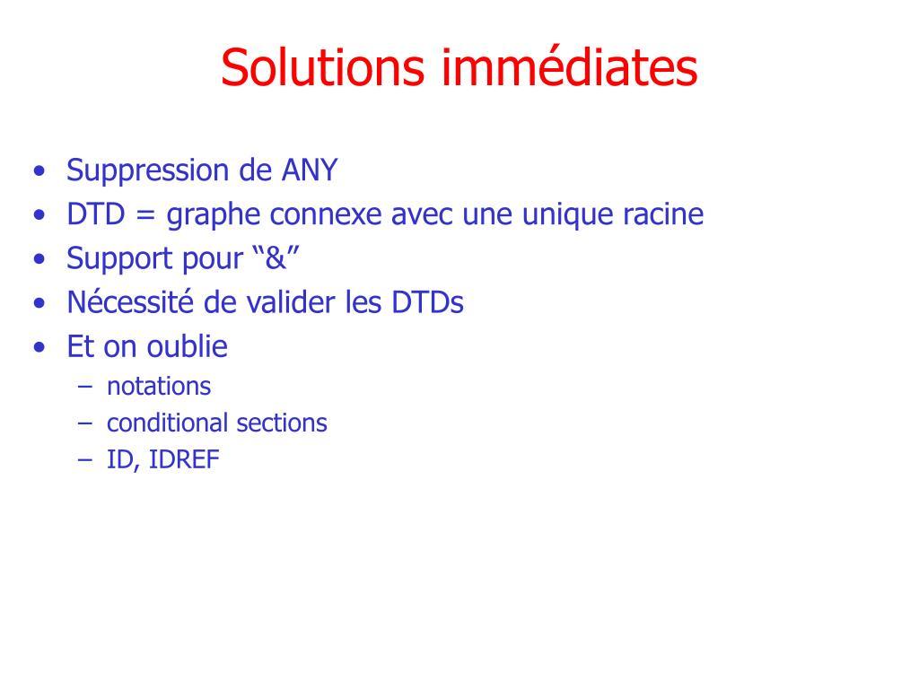 Solutions immédiates