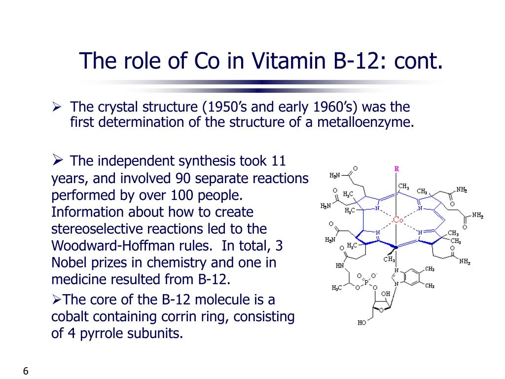 The role of Co in Vitamin B-12: cont.