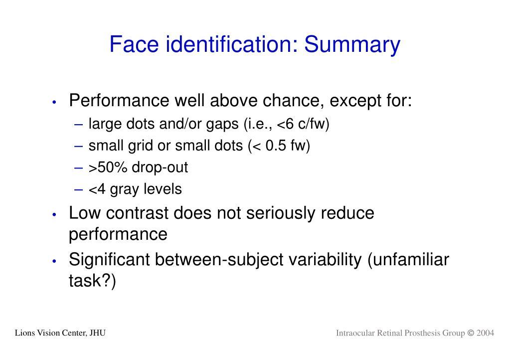 Face identification: Summary