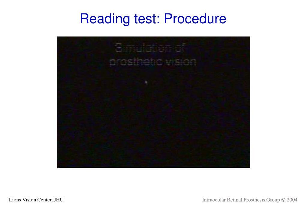 Reading test: Procedure
