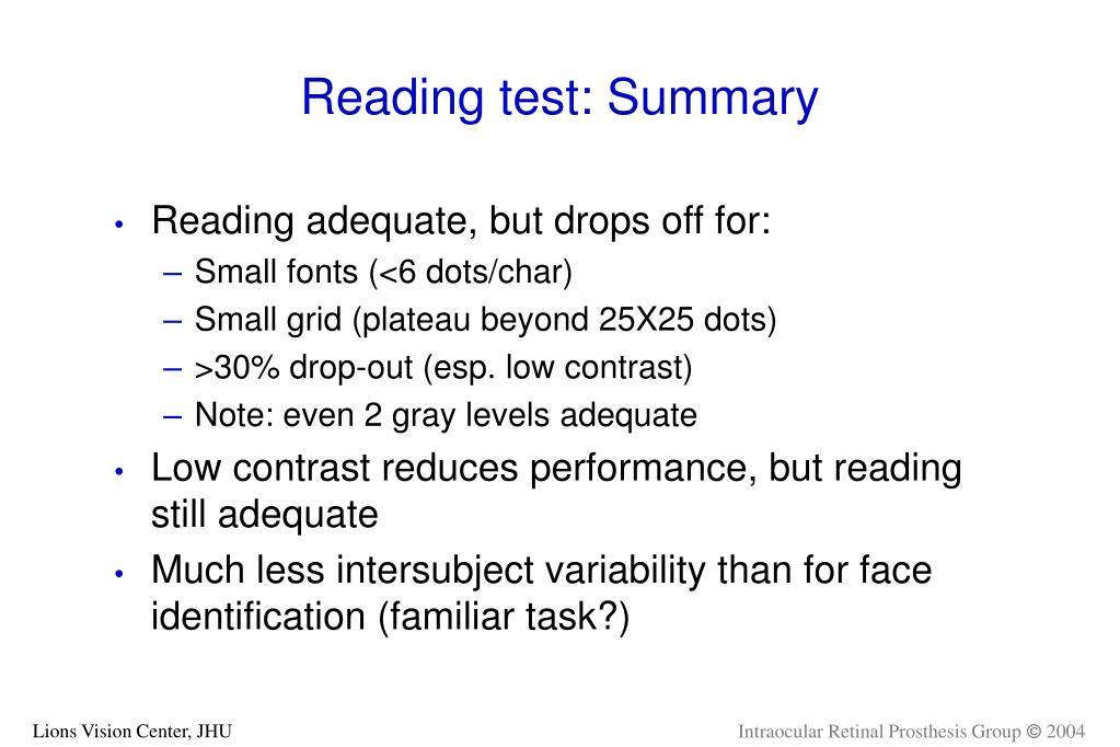 Reading test: Summary