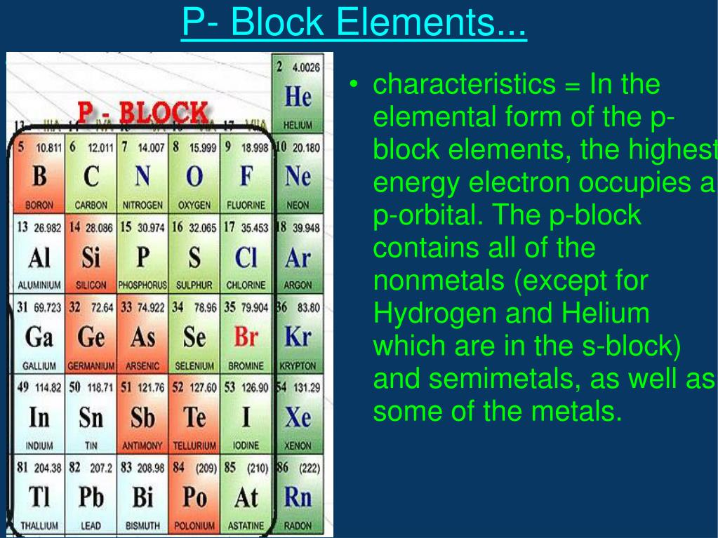 characteristics = In the elemental form of the p-block elements, the highest energy electron occupies a p-orbital. The p-block contains all of the nonmetals (except for Hydrogen and Helium which are in the s-block) and semimetals, as well as some of the metals.