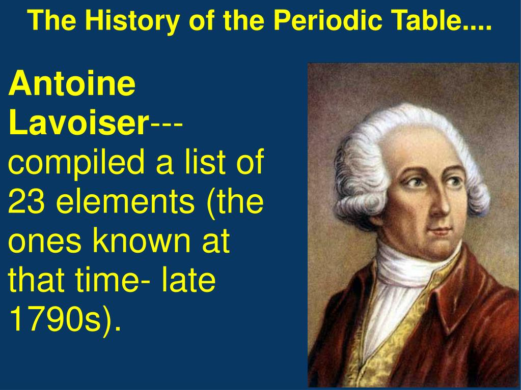 The History of the Periodic Table....
