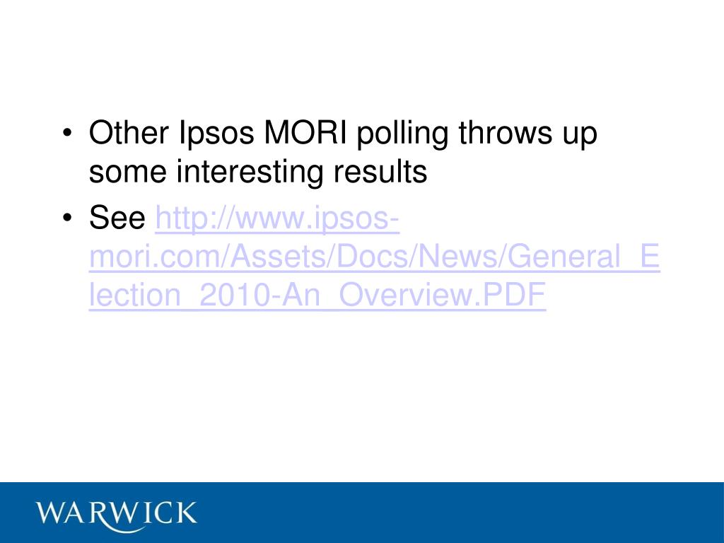 Other Ipsos MORI polling throws up some interesting results