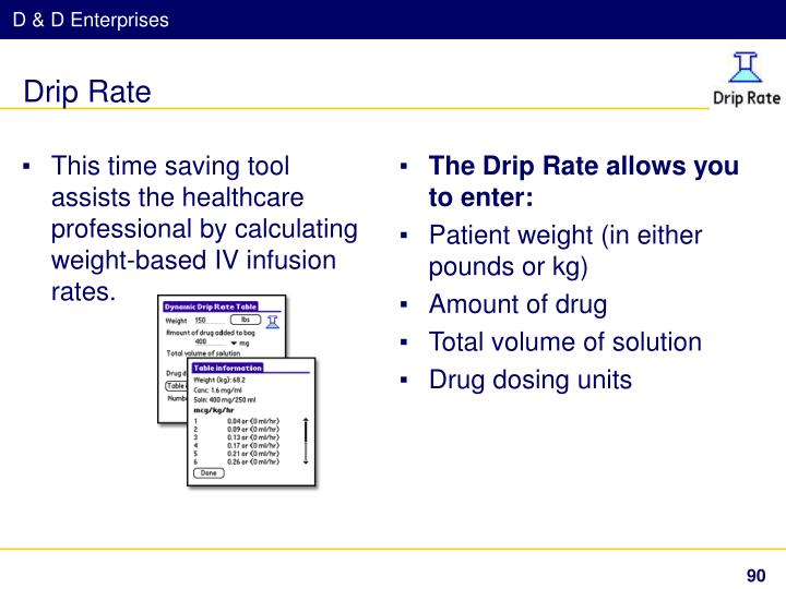 This time saving tool assists the healthcare professional by calculating weight-based IV infusion rates.