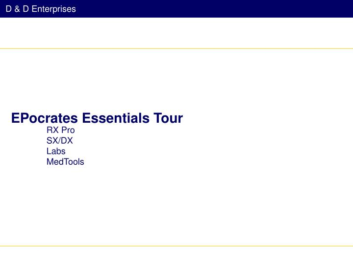 EPocrates Essentials Tour