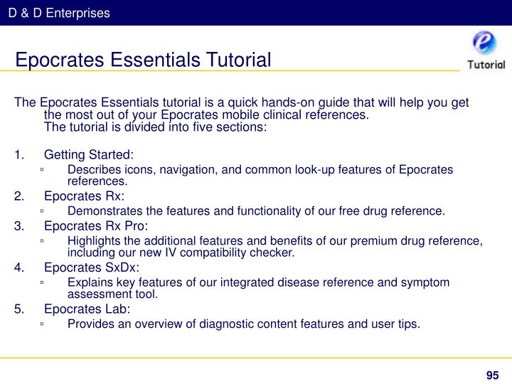 Epocrates Essentials Tutorial