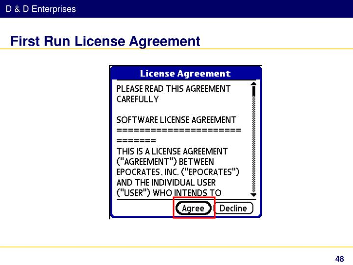 First Run License Agreement