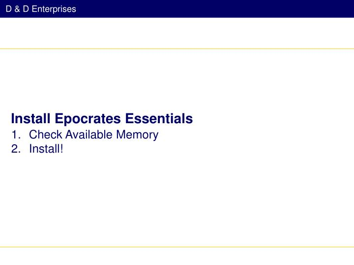 Install Epocrates Essentials