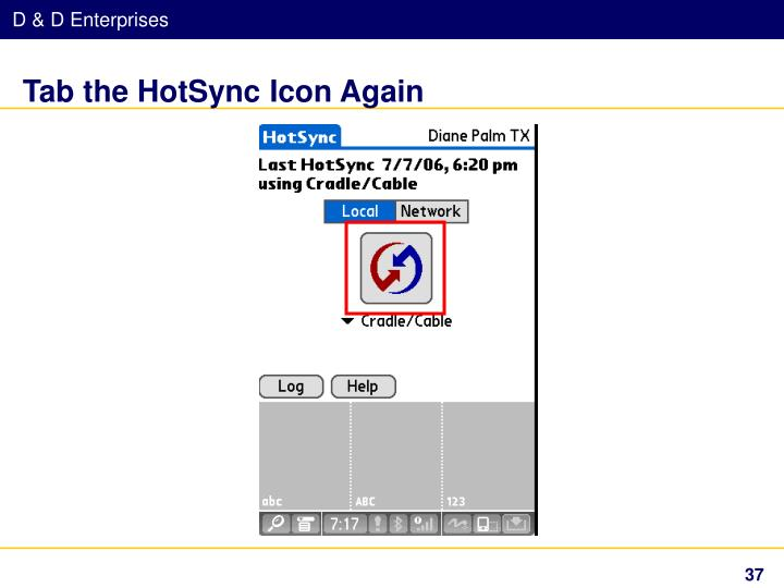 Tab the HotSync Icon Again