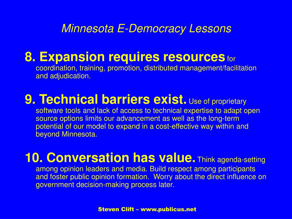 Minnesota E-Democracy Lessons