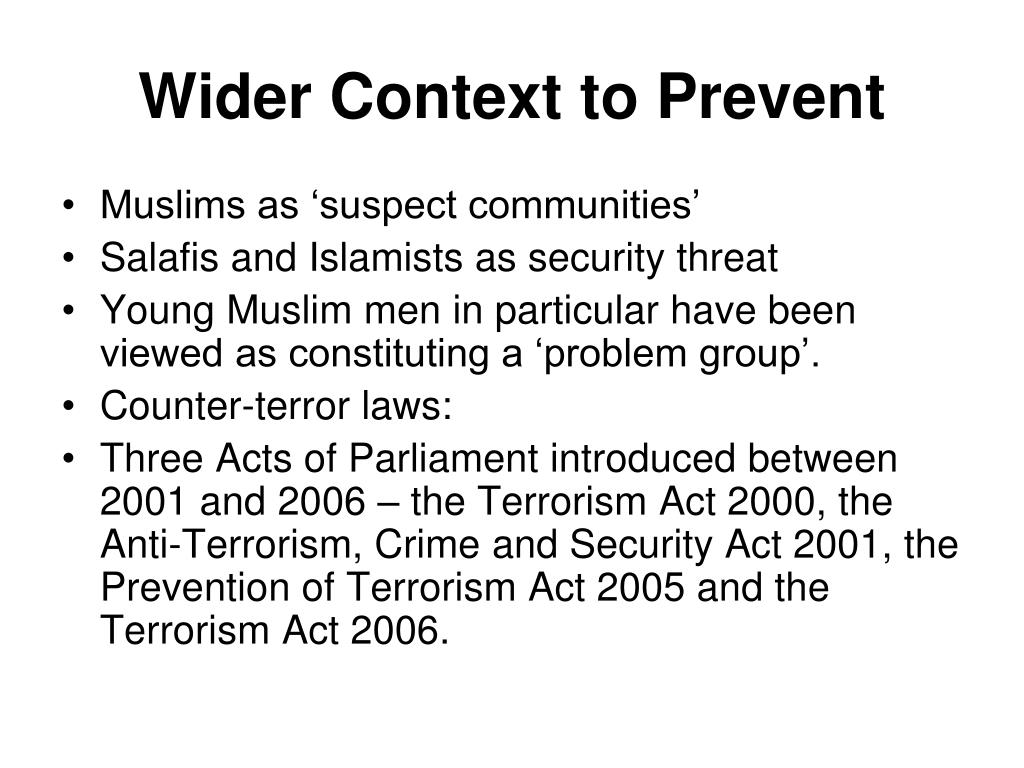 Wider Context to Prevent
