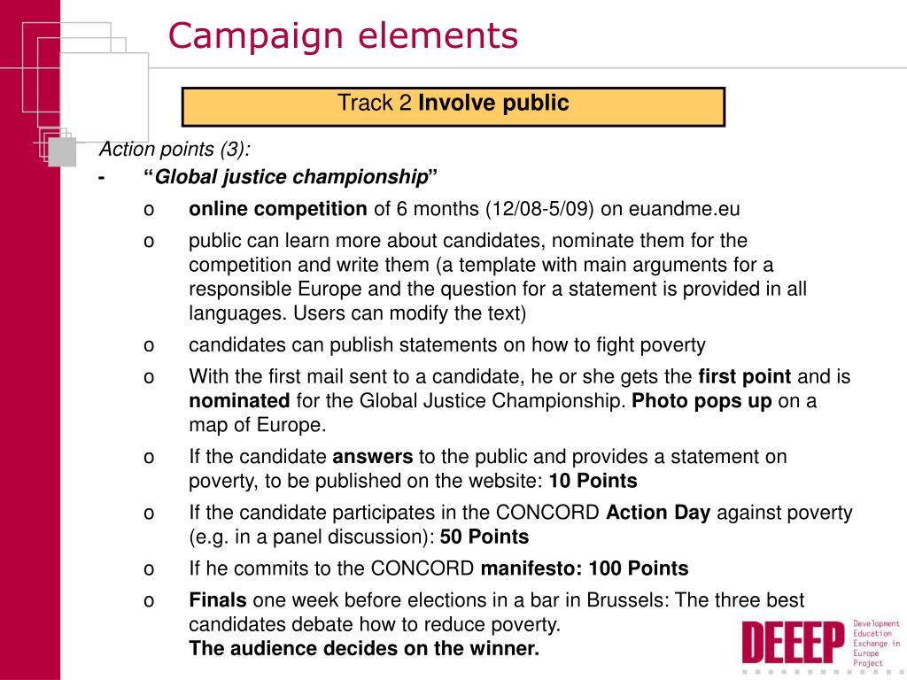 Campaign elements