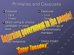 primaries and caucuses