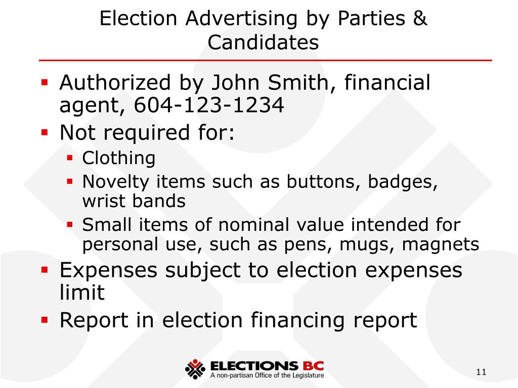 Election Advertising by Parties & Candidates
