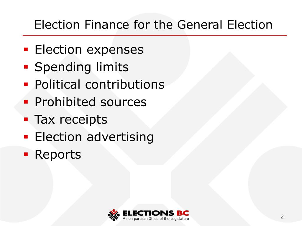 Election Finance for the General Election