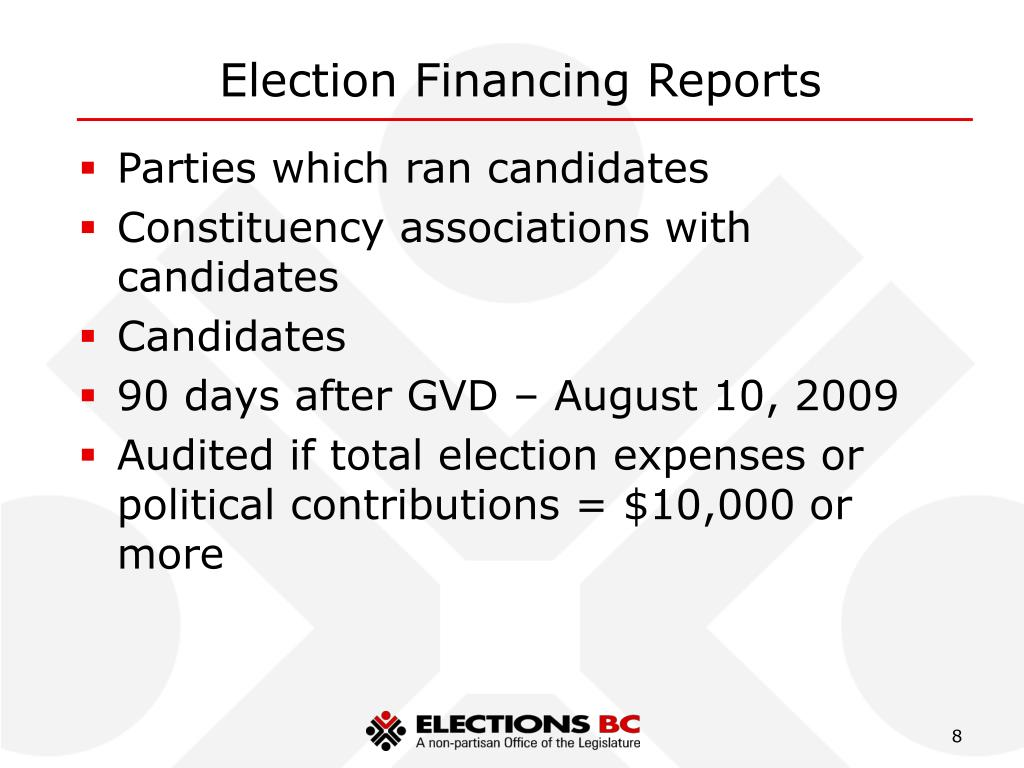 Election Financing Reports